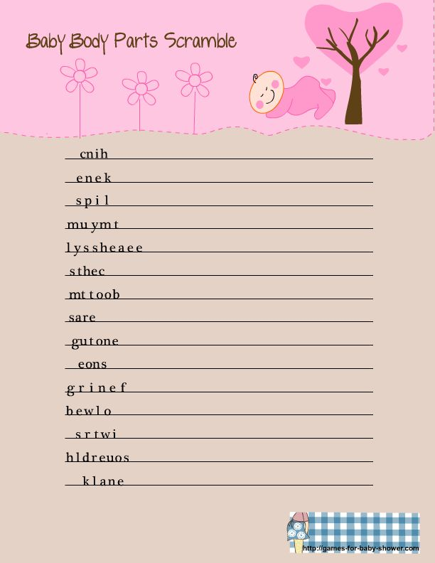 baby shower games | Free Printable Baby Shower Body Parts