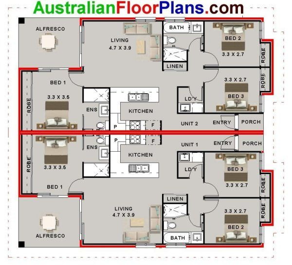 6 Bed Duplex Design House Plan House Plans Australia Multigenerational House Plans Duplex Floor Plans