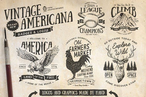 Vintage Americana Badges and Logos by GraphicMonkee on @creativemarket