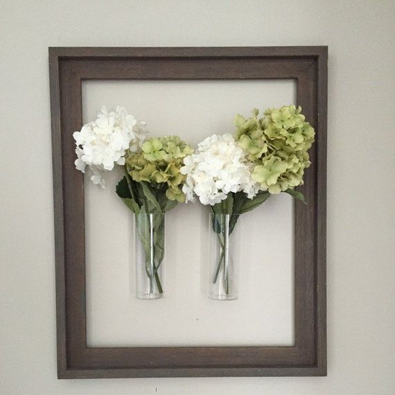 2 Pieces Set Wall Glass Vase Cylindrical Glass Wall Vase Indoor Wall Glass Dried Flower Decorate Photo Frame Flower Wall Decor Wall Mounted Vase Wall Terrarium