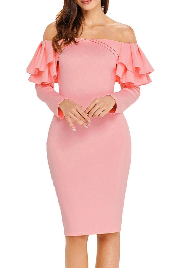 Pink Ruffle Off The Shoulder Long Sleeve Bodycon Dress modeshe.com