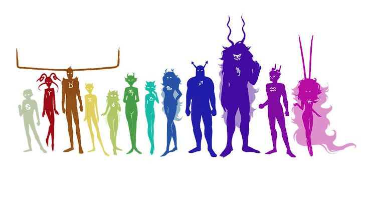 I give credit to whoever made this. This makes me giggle. Look at Rufioh's horns! And Kankri's the second shortest! <-The Summoner and The Sufferer/Signless, not Rufioh and Kankri