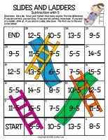 "Here's a ""Slides and Ladders"" game for practicing subtraction of 5. or you can change the numbers for multiplication and division."