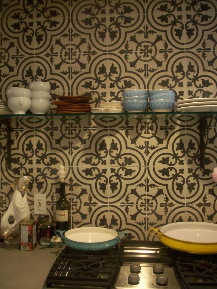 Great Custom Tile Kitchen Backsplash   Cluny Cement Tile