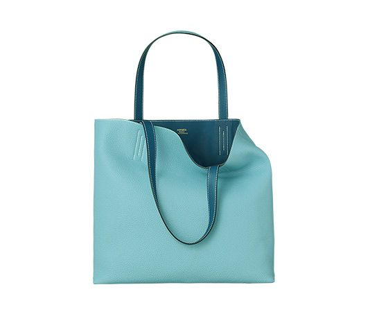 Double Sens Hermes reversible tote in atoll blue taurillon ...