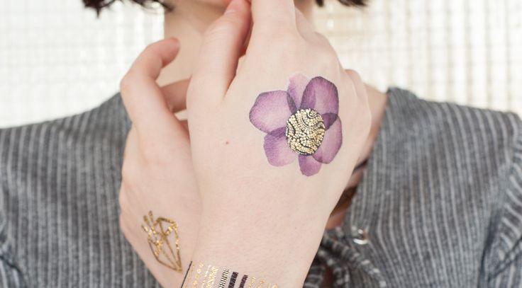 Fleur dorée et violette x5
