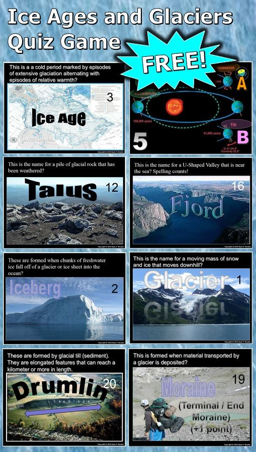 This is a FREE 160 slide PowerPoint review game about ice ages, glaciers, and glacial landforms. A little Paleoecology is also thrown into the mix. Answer and game sheet are provided. -Enjoy!