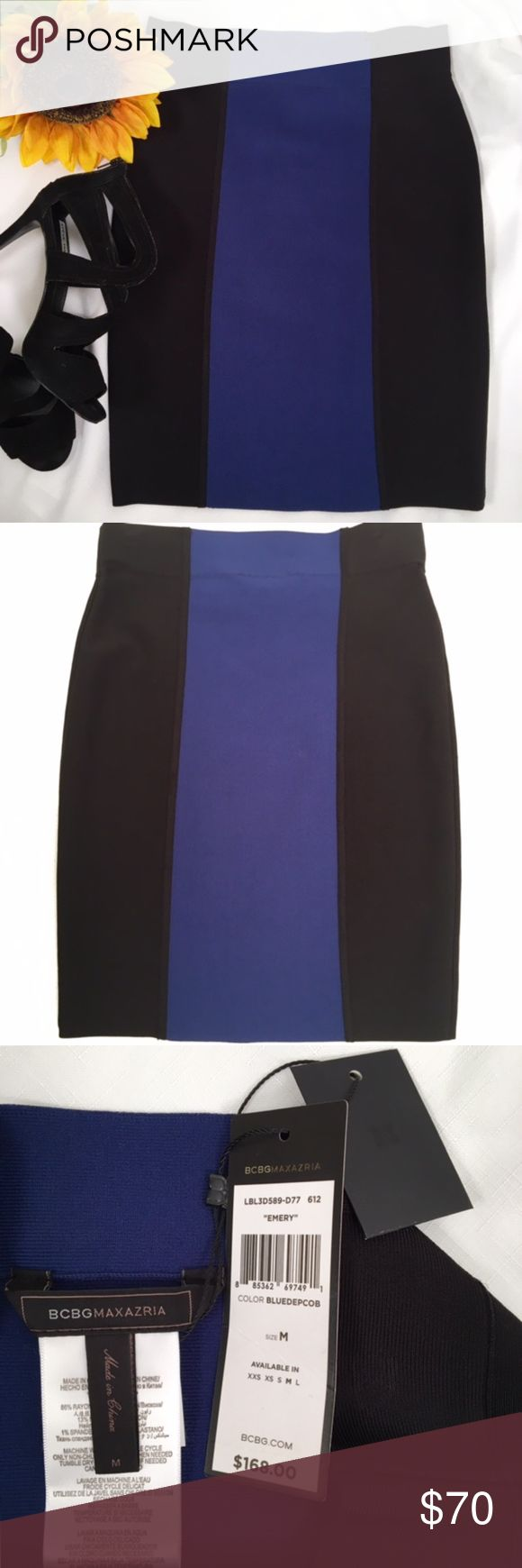 """BCBGMaxAzria Blue Black """"Emery"""" Skirt This skirt is NWT, and in PRISTINE condition... Never worn. The picture with the  is the front of the skirt, and without the flower is the back. The closeup shot is of the hemline. These pull-on skirts have stretch in them but they are not bandage style fabric. Wear it with a black blouse or a blue top (SEE my T Tahari listing for a top that matches the blue color in the skirt.) No zipper/hooks/buttons. Easy to wear & pack!   smoking/pets.  Measure…"""