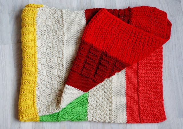 Colorful Knit Baby Blanket Combination Of Different Stitch