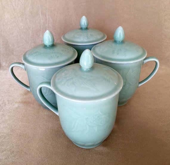 Asian teacup Set Celadon Green Glazed Ceramic by DotnBettys
