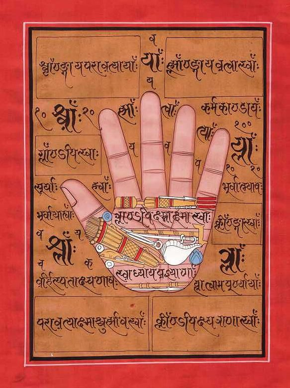 Miniature Painting India Vedic Artwork Online Art Hindu God Kundalini Meditation Traditional Tribal Folk Artwork Artist Art School India Hollywood Sanskrit Calligraphy Poster Drawing - Hand Of God Vishnu Tantra Mantra Veda Vedic Artwork Painting Rajasthan Sanskrit by A K Mundhra