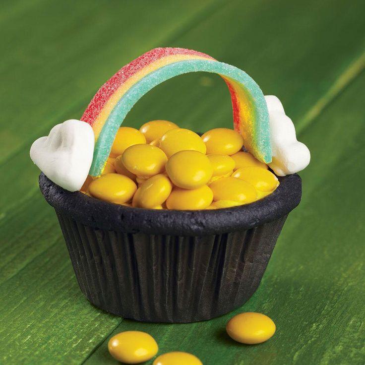 Cupcake pentola d'oro sotto l'arcobaleno...Troppo carino!