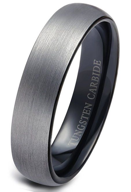 6mm tungsten rings for men wedding engagement band brushed black - Wedding Ring Man