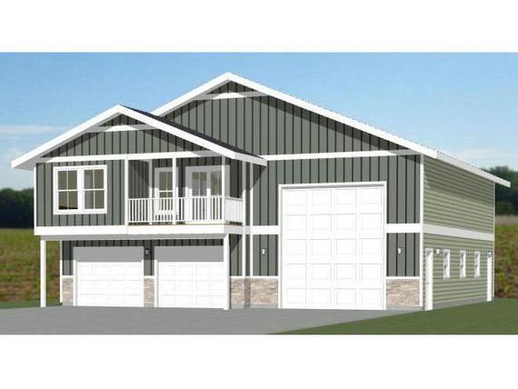 44x48 House 2 Bedroom 2 5 Bath 1 645 Sq Ft Pdf Floor Plan Instant Download Model 5a In 2020 Garage Apartment Plans Garage Plans With Loft Shed Plans
