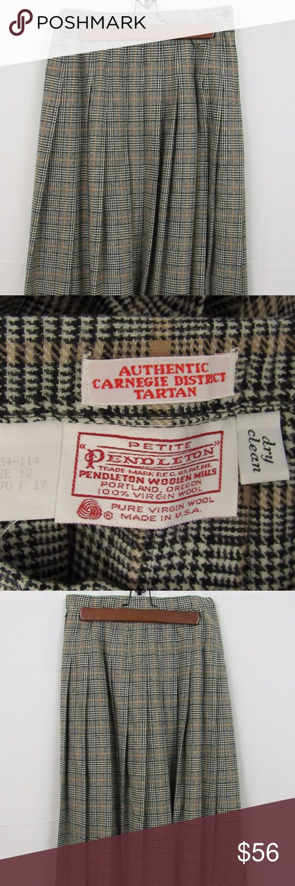 """    Pendleton size 12(P) Tartan Jacket & Skirt Made in the USA Classic Pendleton 100% wool Authentic Carnegie District Tartan Skirt and matching jacket. Seemingly flawless but please zoom in to make a determination. The skirt waist measures 26""""; hips 38""""; length 30"""". The jacket measures 16 1/2"""" shoulder to shoulder; 8 1/2"""" from center of the back to the shoulder hem; 24"""" from shoulder hem to end of sleeve; 25"""" in length. Plz ask anything-not sure of the needed information here. This suit…"""