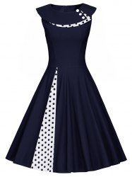 A Line Polka Dot Sleeveless Pleated Dress - PURPLISH BLUE XL