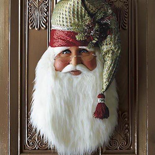 Santa Claus Head Face Poinsettia Door Wall Hanging Christmas Decor Kris Kringle #SantaClaus
