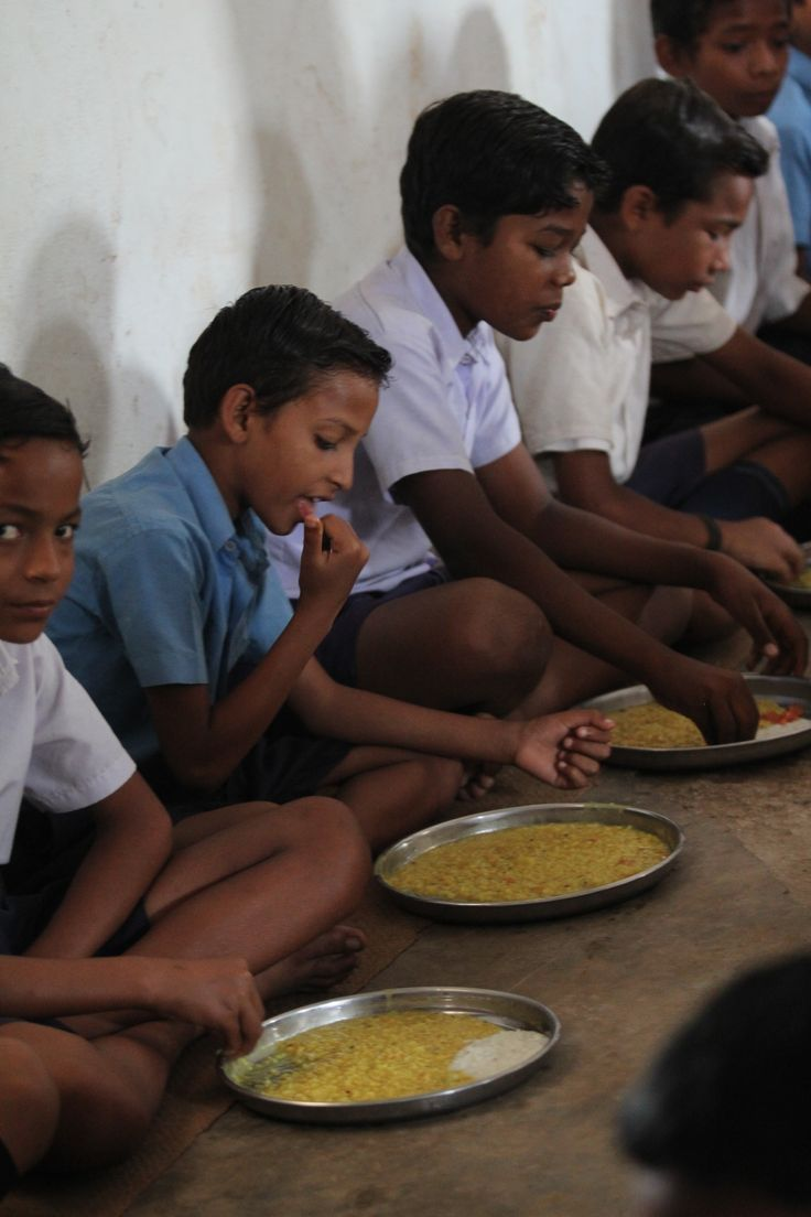 Children licks the nutritious and tasty mid-day meal of Akshaya Patra. Every Day government school children will get the mid day meal.