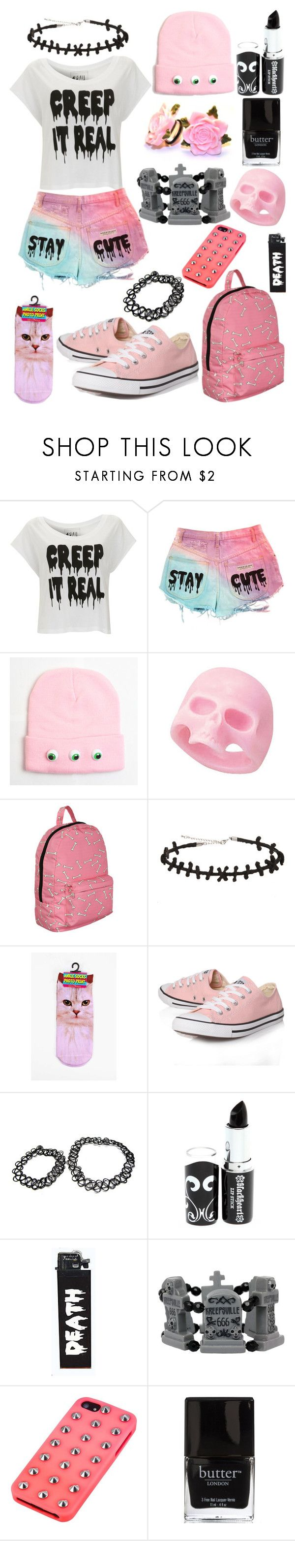 """Creep It Real & Stay Cute ; Pastel Goth"" by ofmiceandvampiraydg ❤ liked on Polyvore featuring Paul's Boutique, Hot Topic, Converse and Material Girl"