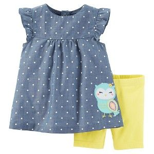 Just One You™Made by Carter's® Baby Girls' 2pc Owl Biker Short Set - Chambray/Yellow