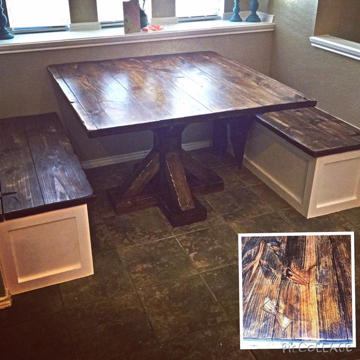 Farmhouse Pedestal Table With 2 Built In Benches