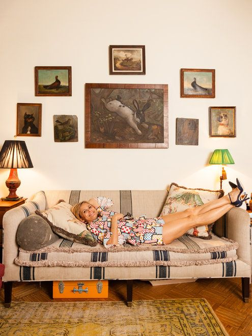 What Amy Sedaris Took from 'Dallas' - NYTimes.com  I love her little gallery wall - especially that rabit print!