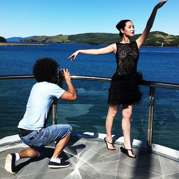 Man of many talents @ido8all shoots #supermodel #liyahong @hamiltonisland #yacht club #HIYC
