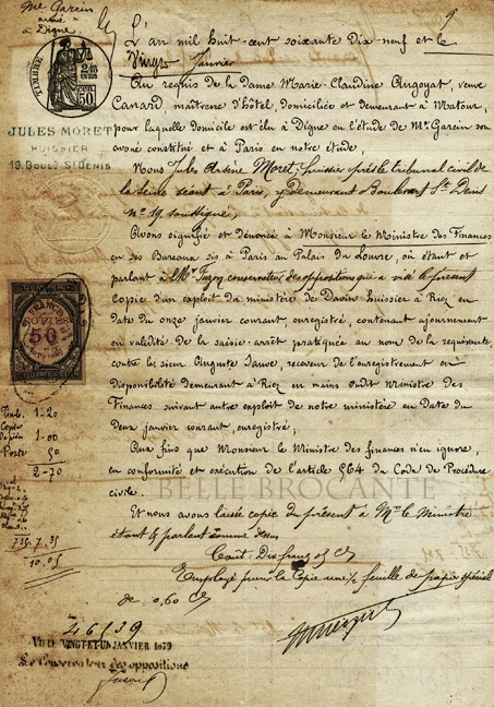 1879 Document. France.