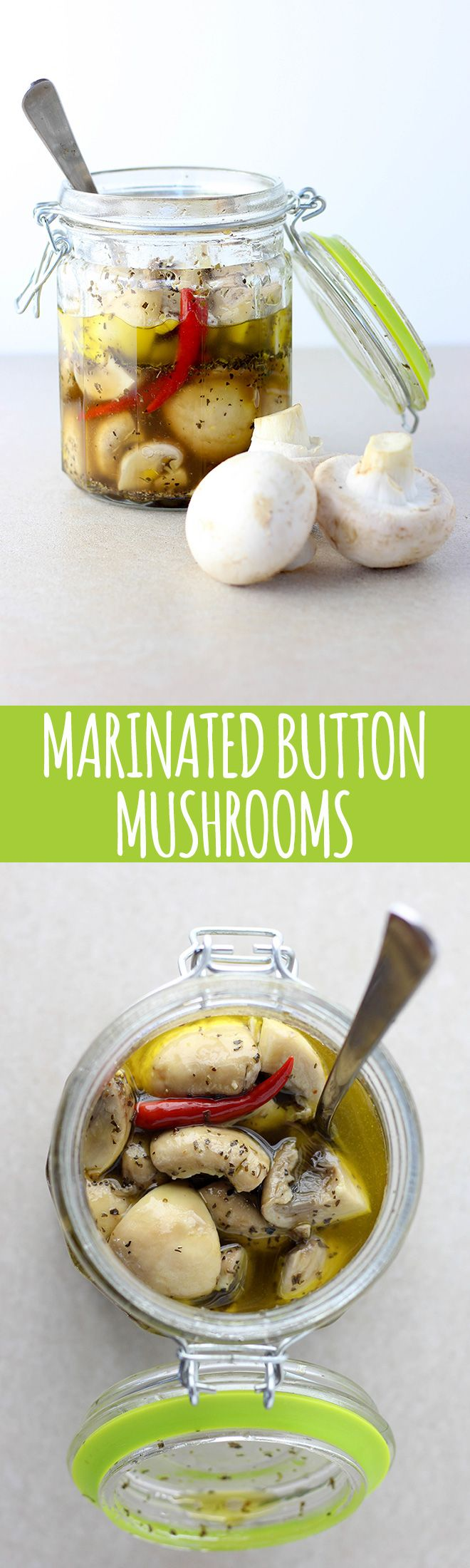 Yummy marinated mushrooms to add to salads and antipasto platters. -Vegan Mariposa                                                                                                                                                                                 More