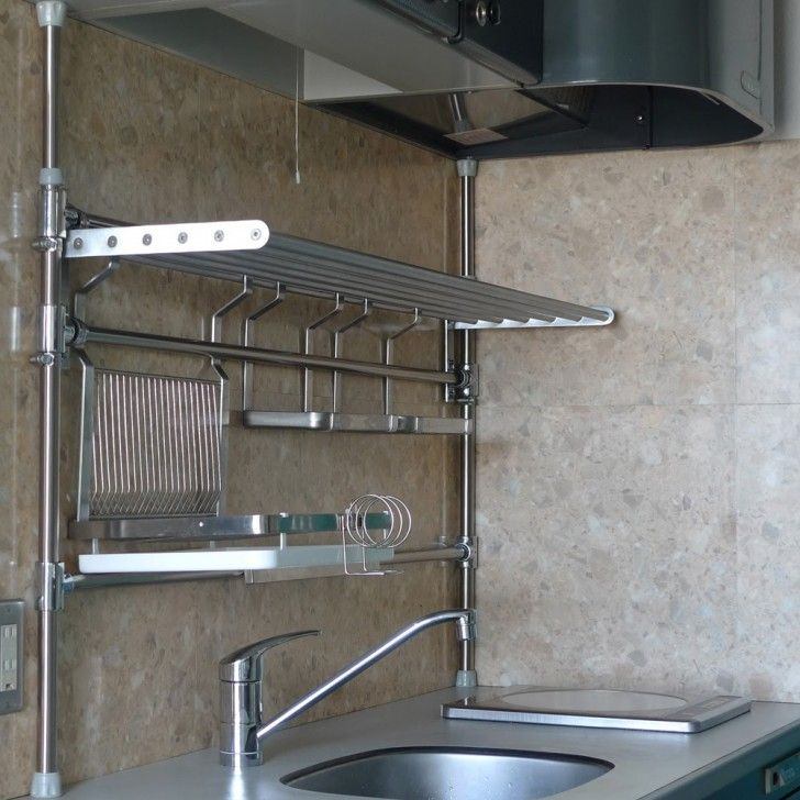 Kitchen:Great Choice Of Stainless Steel Kitchen Storage To Make Kitchen More Comfortable Unusual Kitchen Design Ith Stainless Steel Kitchen Pipe Shelving And Square Kitchen Sink Idea