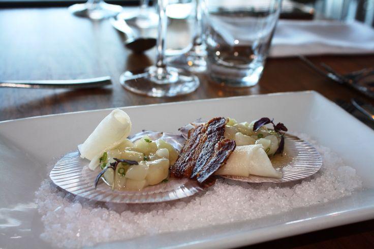 Hervey Bay Scallop tartare, pickled diakon, crispy pancetta, apple vinaigrette