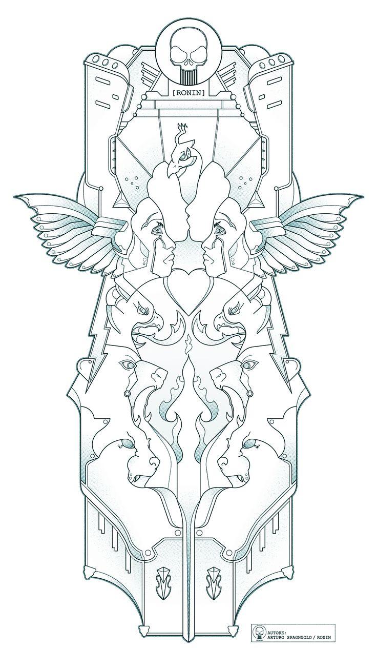 [PHOENIX 3] Questa in particolare, rappresenta il sentimento amoroso. Al centro puoi vedere un cuore; al di sotto di esso ci sono tre animali: il Puma (difesa e forza) l'Orso (forza contro le difficoltà) e l'Aquila (astuzia tagliente ma saggia). I volti rappresentano l'essere umano che, attraverso il bacio, si riconcilia con se stesso e con il mondo. Tutto questo è avvolto dalle ali di una Fenice che rappresenta la rinascita e la Luce. La Vita.