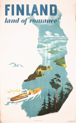 Cool vintage travel poster of Finland.
