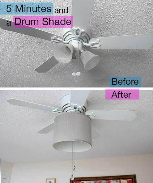 An easy update to hide the tri-light, and soften the look of your ceiling fan with 5 minutes, and a drum shade. Easy peasy.