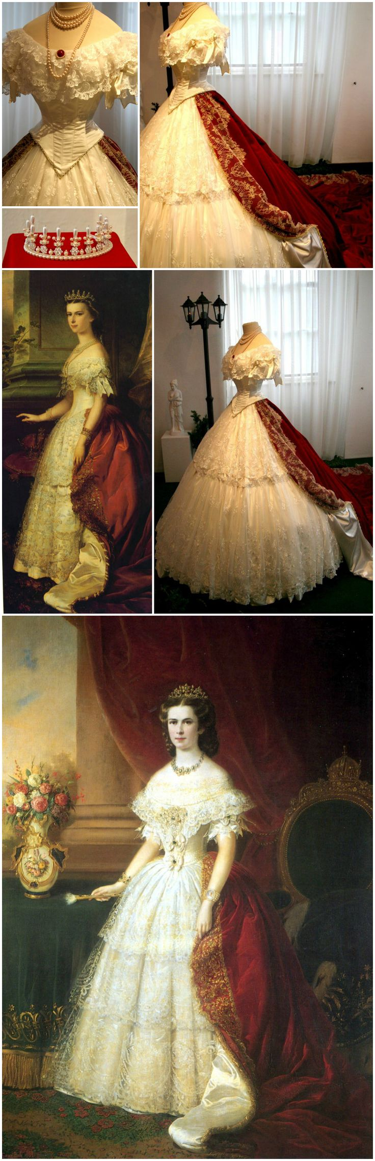 "Replicas of Empress Elisabeth of Austria's tiara and court dress, by D'Elia Salon. Installation photos via ""Mythos Sisi"" article on Myheimat.de. D'Elia Salon exhibited 12 dresses at the Sisi Schloss Unterwittelsbach, all copies of gowns worn by the empress in portraits. Various portraits from the 1850s and '60s show the empress wearing this style of court dress: an 1863 painting by Franz Russ, at bottom (via Nata Volga on LiveInternet) and an undated portrait right above (via Gogmsite.net)."