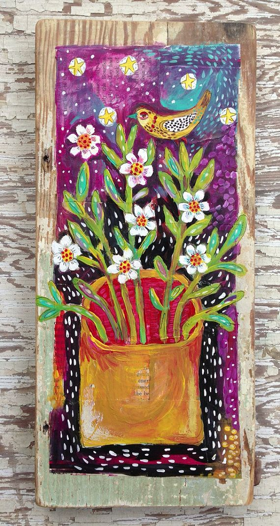 Original Painting on Rustic Wood Floral on Etsy, $68.00