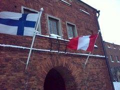 Suomen ja Perun liput saloissa
