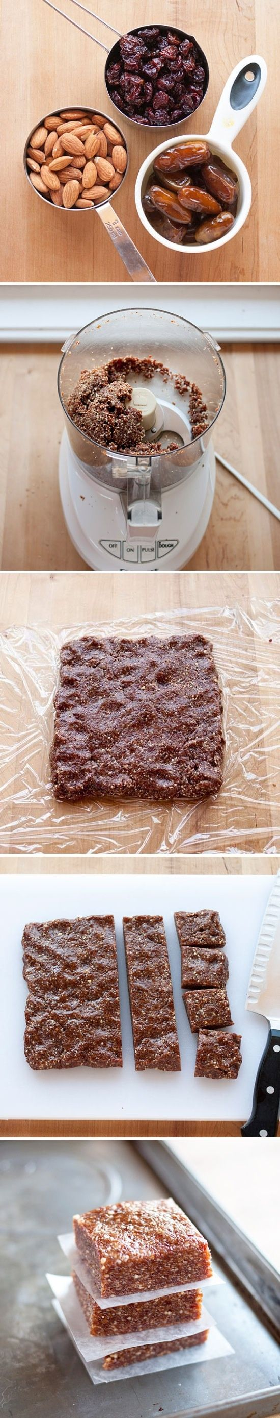 3 Ingredient Energy Bars - Can't wait to try these. Dates, cranberries, and almonds.