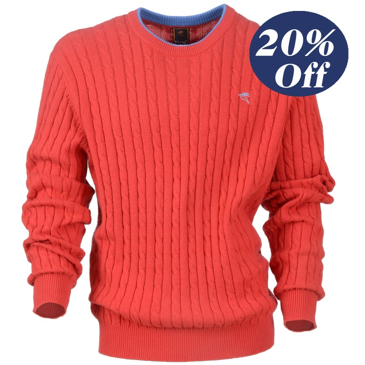 was $115 now $92 Men's stand neck knit with cable/wide rib design.