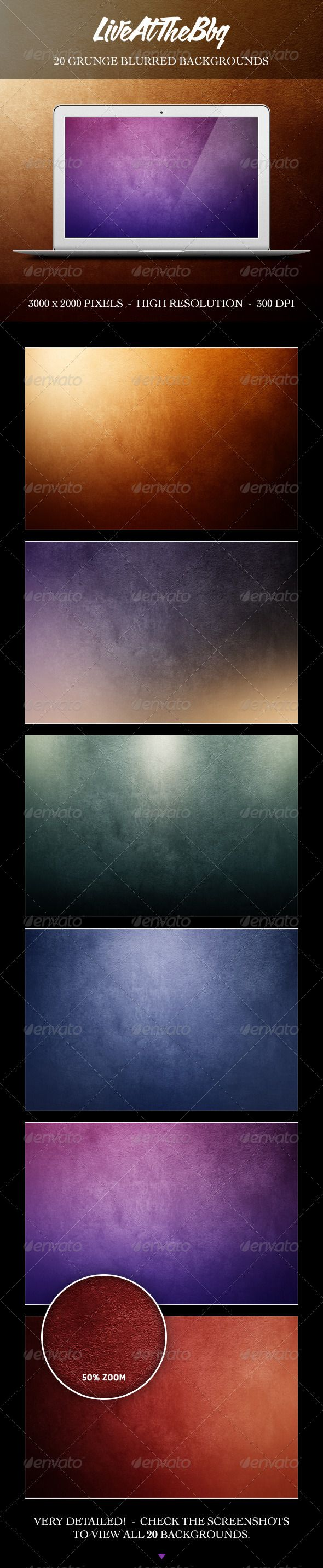 Grunge Blurred Backgrounds. High resolution backdrops for presentation, flyer design, webdesign textures and more! 20 unique jpg files on 300 DPI. A great timesaver for you next graphic design projects.