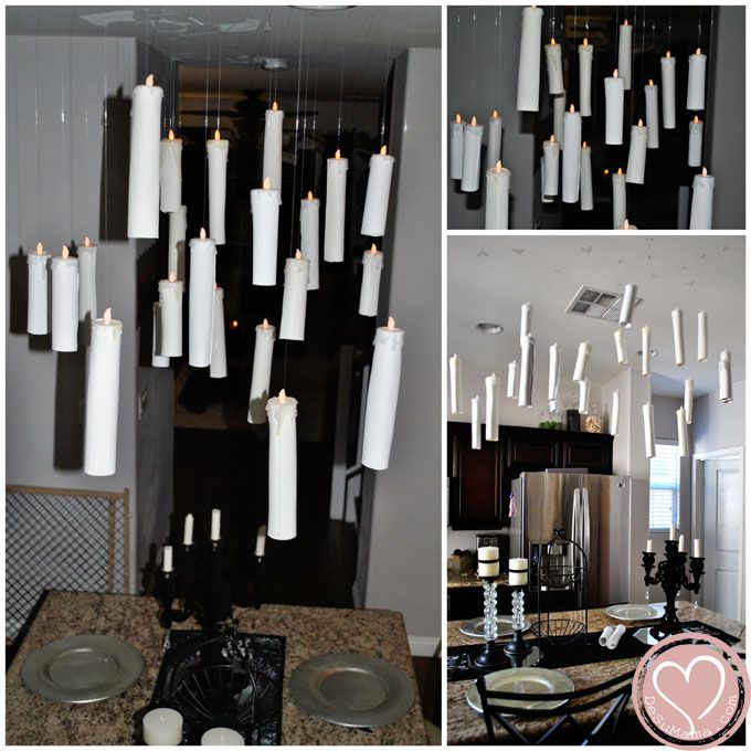 Harry Potter Party. small tea lights attach foam or card stock paper rolled and glued to the tea lights hot glue painted white so it looks like its dripping then hang with floss or fishing wire... OMG!! genius!