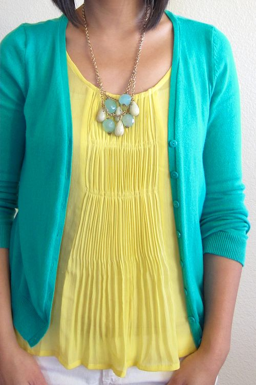 Turquoise & yellow. Except I'm not a fan of the necklace so much.                                                                                                                                                                                 More