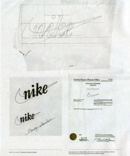 "Legendary NIKE ""swoosh"" logo designed by Carolyn Davidson in 1971."