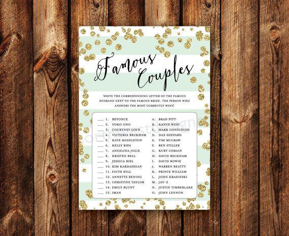 DIGITAL - Famous Couples Bridal Shower Game Celebrity Matching Name Game Mint Stripe Gold Bling Printable Download Wedding Shower Game Card