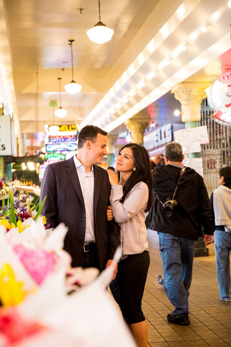 Downtown Seattle Engagement Photos with Pops of Pink