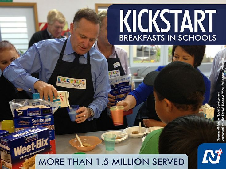From the Prime Minister: Enjoyed helping out at Henderson Primary Breakfast Club this morning. 25,000 children each week in 372 schools are taking part in KickStart. It really shows how communities, businesses, and the government can work together to help children in need. http://www.national.org.nz/Article.aspx?articleId=43541