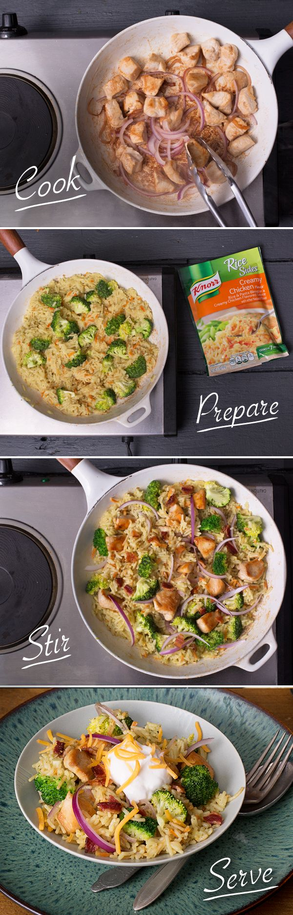 Make your weeknight dinner stand out by tossing together fresh ingredients & Knorr® Rice Sides™ - Creamy Chicken flavor! Just cook chicken & onion, stirring frequently, until chicken is thoroughly cooked. Remove & set aside. Prepare Knorr® Rice Sides™ - Creamy Chicken flavor in same skillet according to package directions. Stir in broccoli during the last 5 mins of cook time. Stir in chicken & onion. Sprinkle with bacon. TIP: Serve, if desired, with sour cream and shredded cheddar cheese!