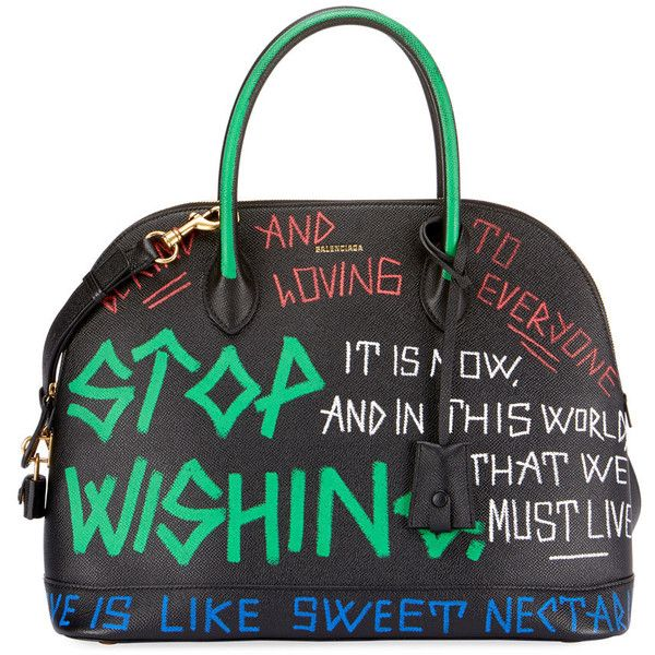 Balenciaga Small Graffiti Leather Top Handle Bag ( 415) ❤ liked on Polyvore  featuring bags 27cea6a0fca