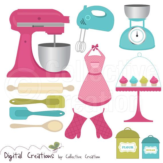 Baking Cooking Digital Clip Art Clipart Set - Personal and Commercial Use