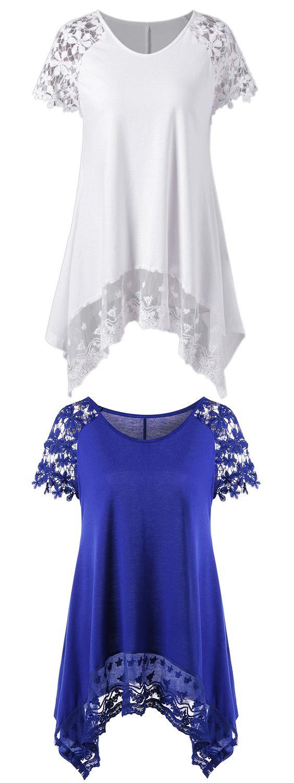 Raglan Sleeve Lace Trim Asymmetric T-Shirt